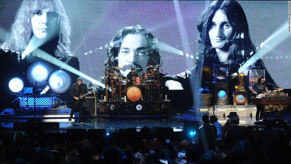 From Ontario, Canada, these three wise men invaded the US and built their cult audience by working hard, defying record executives and playing their special brand of music. Along the way, listeners bought 25 million Rush recordings in the US, according to the RIAA. Rush hinted that their 2015 40th anniversary tour may have been their last major tour.  Left to right: guitarist Alex Lifeson, drummer Neil Peart and singer/bassist Geddy Lee were inducted into the Rock and Roll Hall of Fame in 2013.