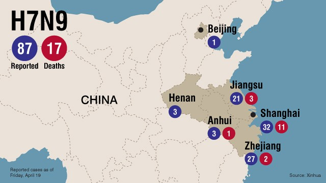 Map: H7N9 infections and deaths