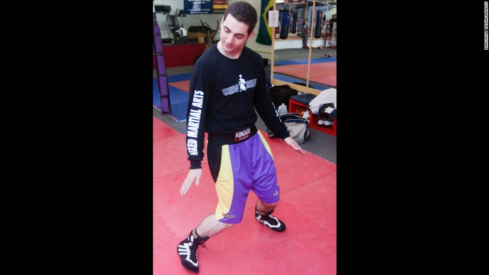 Tsarnaev shows how he strengthens his ankles, according to the photo essay. The photographer did not want to be named for this story.