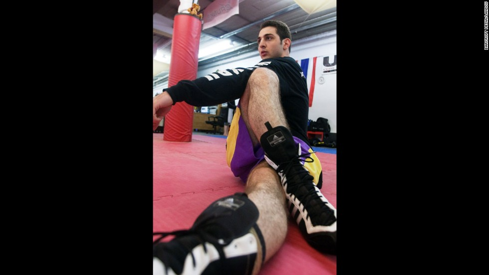 Tsarnaev stretches during boxing practice.