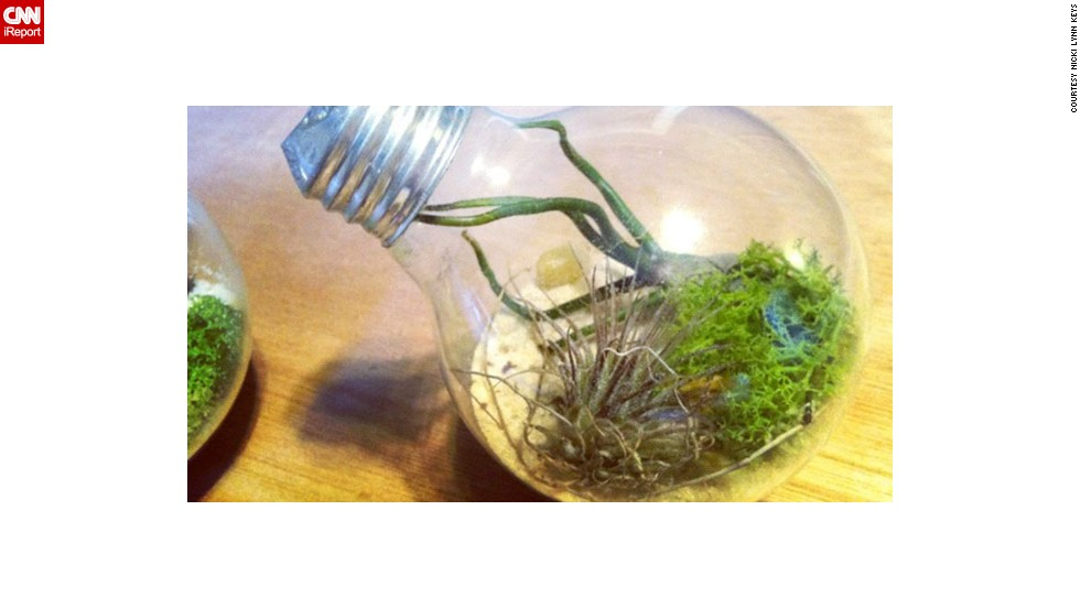 "Keys says it takes a little bit of patience (and gloves, and possibly a mounting piece) to get the hang of making a <a href=""http://ireport.cnn.com/docs/DOC-958666"">light bulb terrarium</a>. Of the process itself, she writes: ""Tap lightly with a screwdriver to break the glass holding the filament in place. Once the black glass is shattered, use tweezers or needle-nose pliers to pull the filament and glass mount outside of the light bulb. Then, pour in sand. Use chopsticks or tweezers to carefully maneuver the plants into the bulb."""