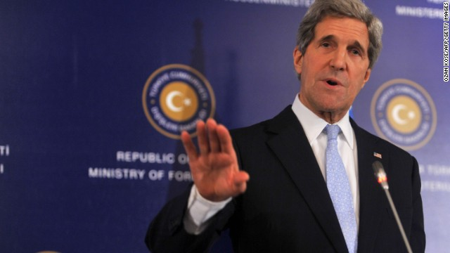 U.S. Secretary of State John Kerry speaks at the Friends of Syria meeting on April 20 in Istanbul.