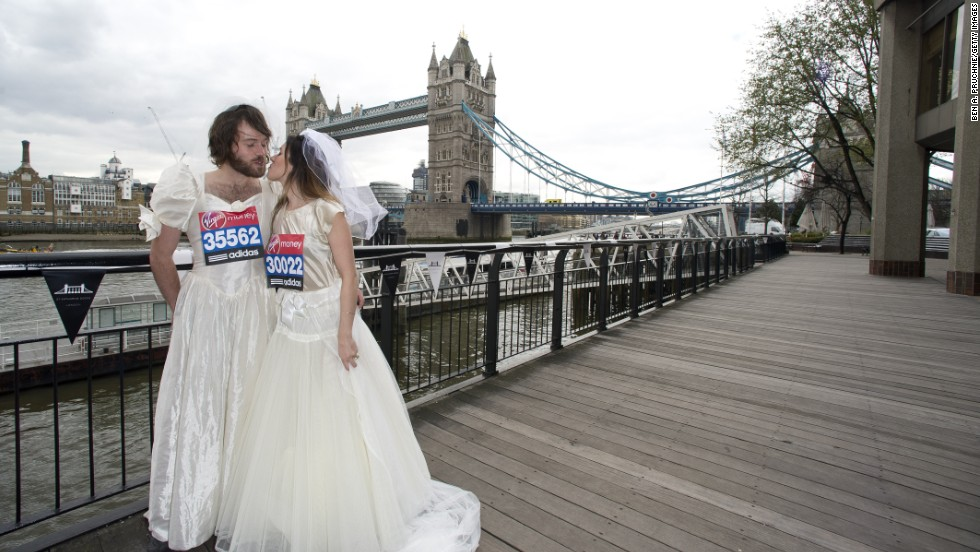 Sophie McCorry and Toby McCorry attend the Guinness World Record Attemptees photocall ahead of The the London Marathon at The Tower Hotel on April 19, 2013 in London, England.