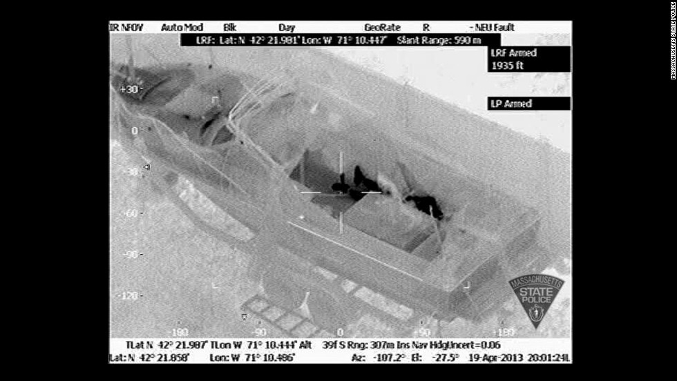 "Helicopters with infrared devices detected a man under the boat tarp. Dzhokhar Tsarnaev's frame is seen in this <a href=""http://www.cnn.com/2013/04/17/us/gallery/boston-evidence/index.html"">thermal image released by Massachusetts State Police.</a>"