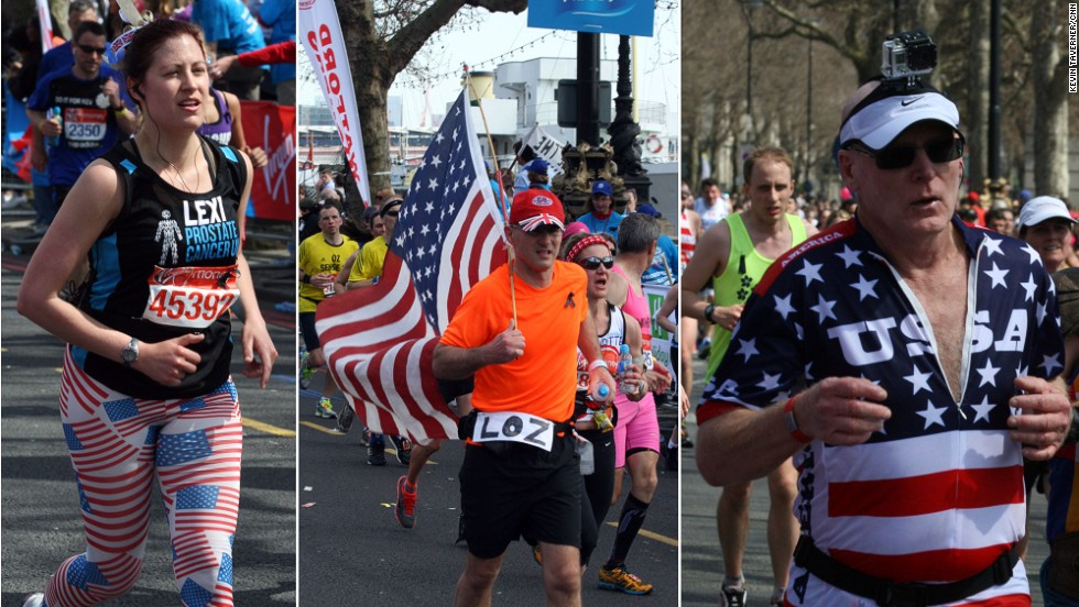 Many American runners proudly dressed in a stars and stripes in a show of solidarity following the Boston terror attacks Monday.
