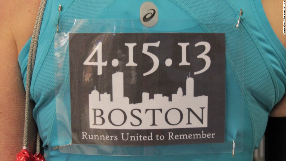 British runner Julia Biss saw this tribute to Boston being passed around on Facebook which urged runners to print off the sign and wear it during the London Marathon on April 21, 2013.