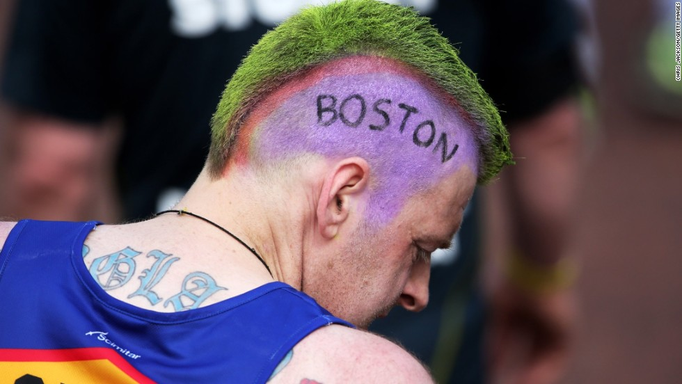 """A competitor at the London Marathon inscribed the word """"Boston"""" into his hair at the London Marathon on April 21."""