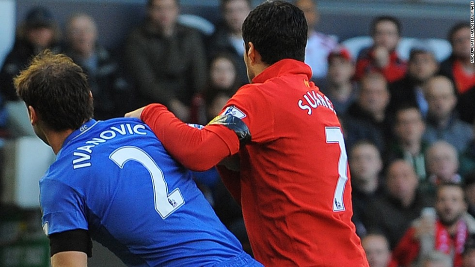 Suarez grappled with Ivanovic before sinking his teeth into his arm.