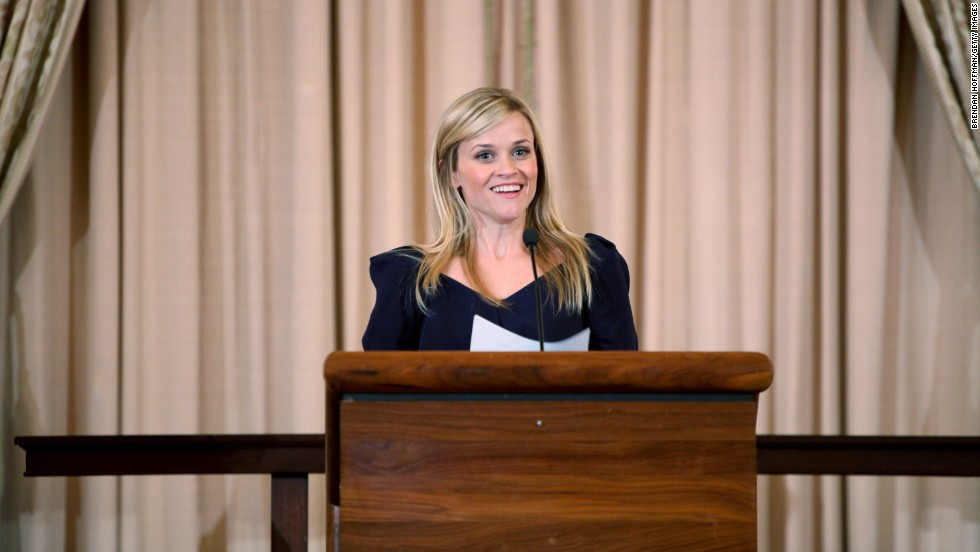 "Here, Witherspoon addresses a meeting to launch the Global Partnership to End Violence Against Women in Washington in 2010. But in 2011 <a href=""http://www.marieclaire.com/celebrity-lifestyle/celebrities/reese-witherspoon-interview"" target=""_blank"">she told Marie Claire</a>, ""I'm scared to speak in public. I'm really nervous about it. It's weird, because on a movie set, I'm fine. But I get really nervous in front of crowds."""