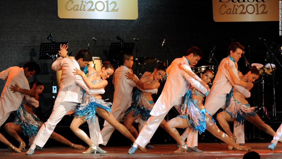 "Thousands of people in Cali, Colombia earn their living from the salsa industry -- whether working at dance schools, ballrooms and party rooms or as tailors or other related jobs. Here, members of Argentina's ""Bien chevere"" dance school perform during the 7th World Salsa Festival held in Cali in September  2012."