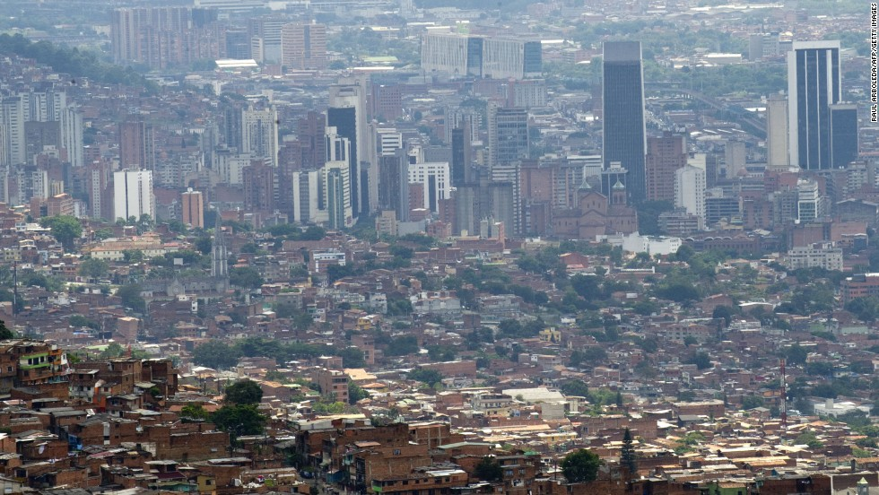 A general view shows Medellin from above in March 2013.