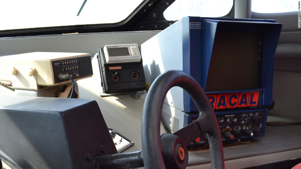 "Inside, the boat remains largely untouched. ""It's like stepping back in time,"" says Stevens. ""It still has all the Virgin livery, original charts, electronics and seats."""