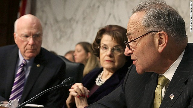 WASHINGTON, DC - APRIL 22: Sen. Charles Schumer (D-NY)(R), speaks while flanked by Sen. Dianne Feinstein (D-CA)(2nd-R), Chairman Patrick Leahy (D-VT)(2nd-L) and Sen. Charles Grassley (R-IA)(3rd-L), Sen. Jeff Sessions (R-AL)(2nd-L) and Sen. John Cornyn (R-TX)(L), during a Senate Judiciary Committee hearing on April 22, 2013 in Washington, DC.The committee is hearing testimony on border security, economic opportunities and the Immigration Modernization Act. (Photo by Mark Wilson/Getty Images)