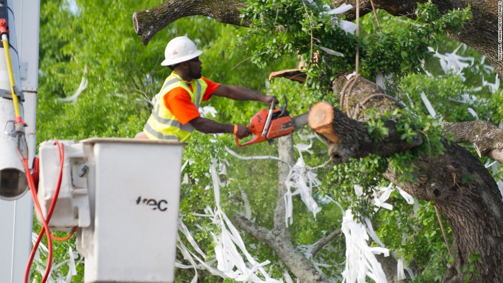 A crew member puts a chainsaw to a branch on Tuesday.