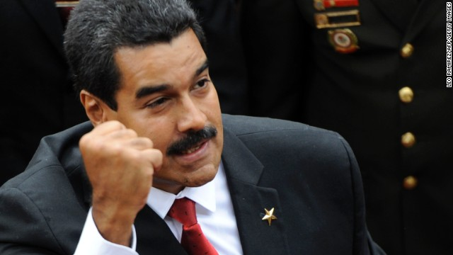 Venezuelan President Nicolas Maduro enters the National Assembly before his inauguration in Caracas on April 19.