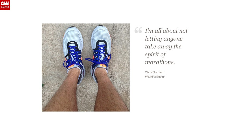 Chris Gorman, 31, is raising money for charity while he runs with Boston in mind.
