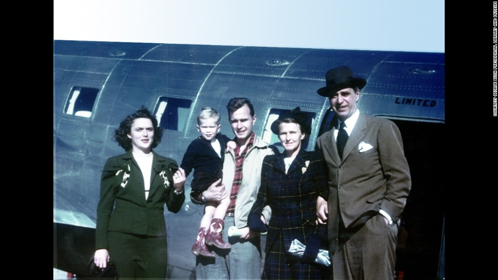 A young George W. Bush with, from left, his mother, Barbara Bush; father, George H.W. Bush; and grandparents, Dorothy and Prescott Bush, in Midland, Texas, on March 7, 1949.