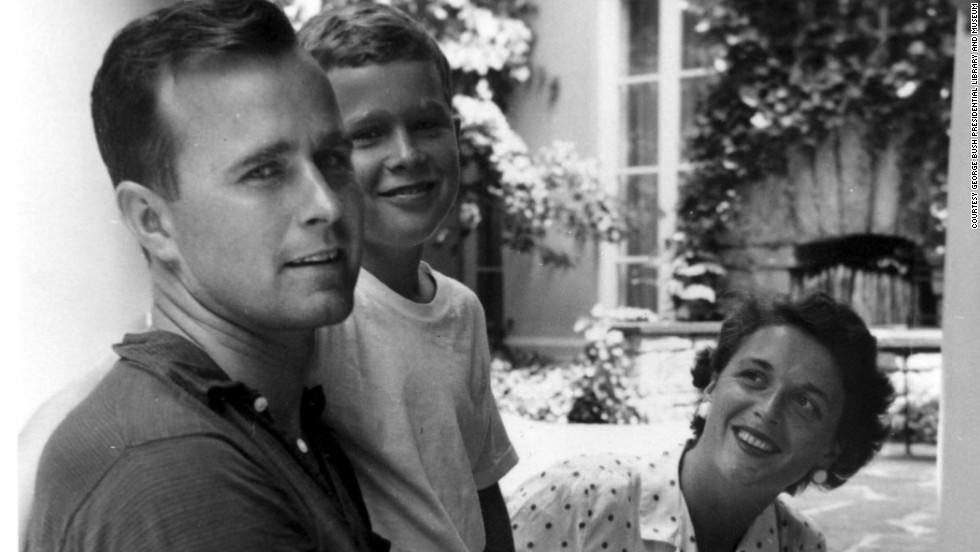 George W. Bush with his father George H.W. Bush and mother  Barbara Bush in Rye, New York, during the summer of 1955.