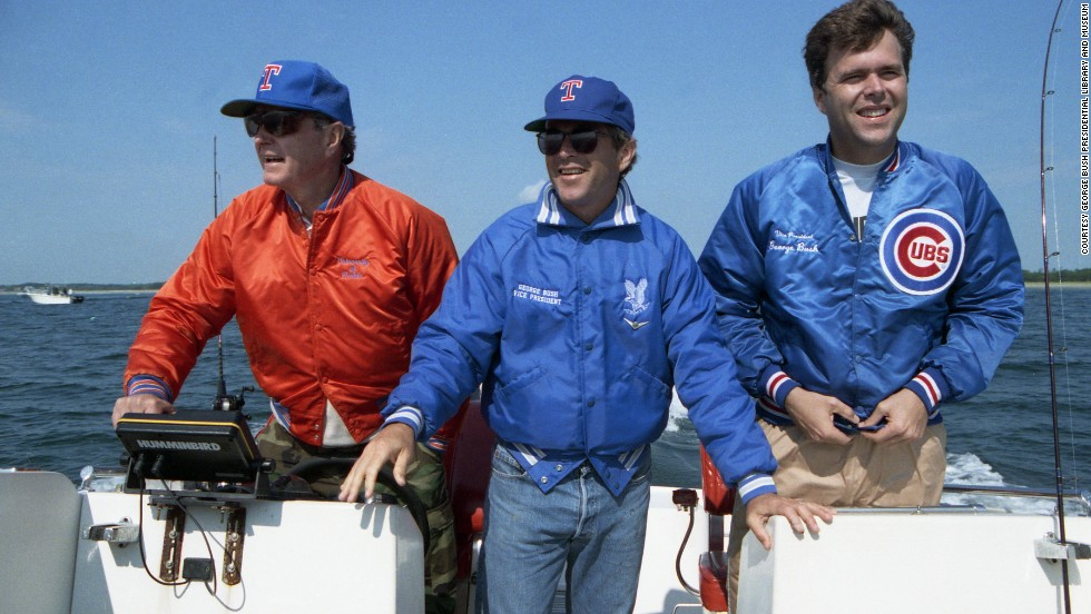 Then-President George H.W. Bush with sons George W. and Jeb, right, boating off Kennebunkport, Maine, in 1989.