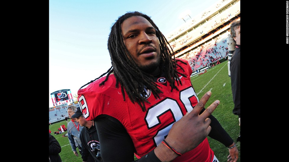 Jarvis Jones of the Georgia Bulldogs celebrates after a win against the Georgia Southern Eagles at Sanford Stadium on November 17, 2012, in Athens, Georgia.