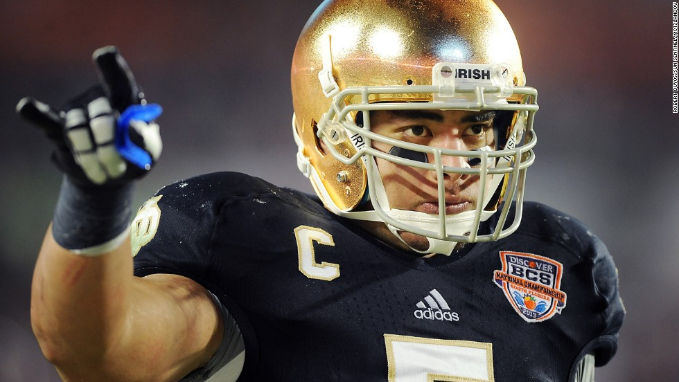 Notre Dame linebacker Manti Te'o prepares for a play against Alabama during the BCS National Championship game at Sun Life Stadium in Miami Gardens, Florida, on January 7.