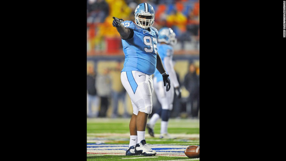 North Carolina Tar Heels defensive tackle Sylvester Williams prepares for a play during the 2011 Advocare V100 Independence Bowl game against the Missouri Tigers in Shreveport, Louisiana, on December 26, 2011.