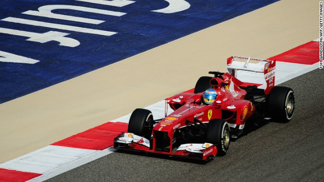 Fernando Alonso had to drive with a broken rear wing during the Bahrain Grand Prix.