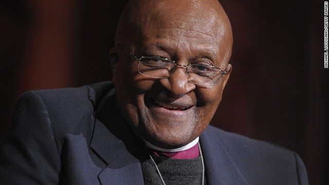 Archbishop Desmond Tutu takes part in a Q&A during the 2012 Global Leadership Awards Dinner at Cipriani 42nd Street on October 16, 2012, in New York City.