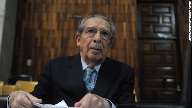 Former Guatemalan dictator Efrain Rios Montt listens to a judge in Guatemala City on April 19.