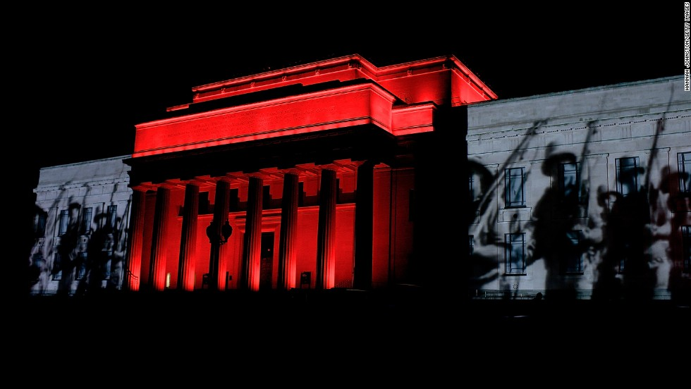 Archive footage is projected onto the walls of the Auckland Museum prior to ANZAC Day on Tuesday in Auckland, New Zealand.