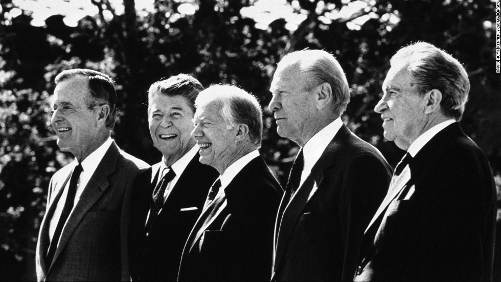 George H.W. Bush, Ronald Reagan, Jimmy Carter, Gerald Ford and Richard Nixon pose during the Ronald Reagan Library dedication on November 4, 1991, in Simi Valley, California.