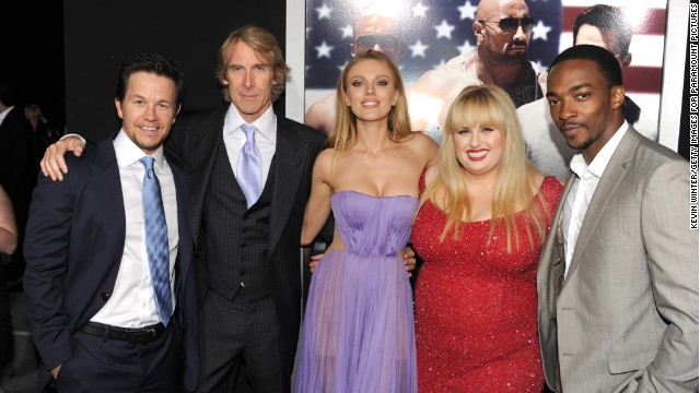 "Mark Wahlberg, Michael Bay, Bar Paly, Rebel Wilson and Anthony Mackie attend the ""Pain & Gain"" premiere  Monday in Hollywood."