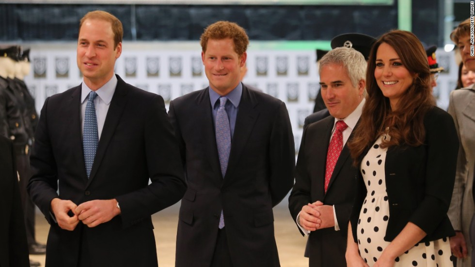 From left, Prince William, Duke of Cambridge, Prince Harry, and Catherine, Duchess of Cambridge, smile during the inauguration of Warner Bros. Studios Leavesden on Friday, April 26, in London.