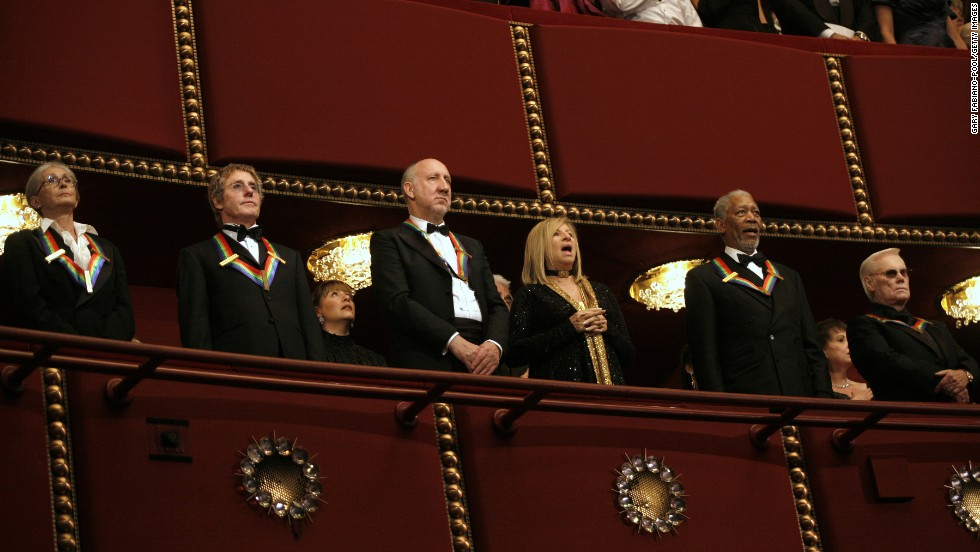 Twyla Tharp, left, Roger Daltrey, Pete Townshend, Barbra Streisand, Morgan Freeman and Jones stand as they are honored during the 2008 Kennedy Center Honors in Washington.