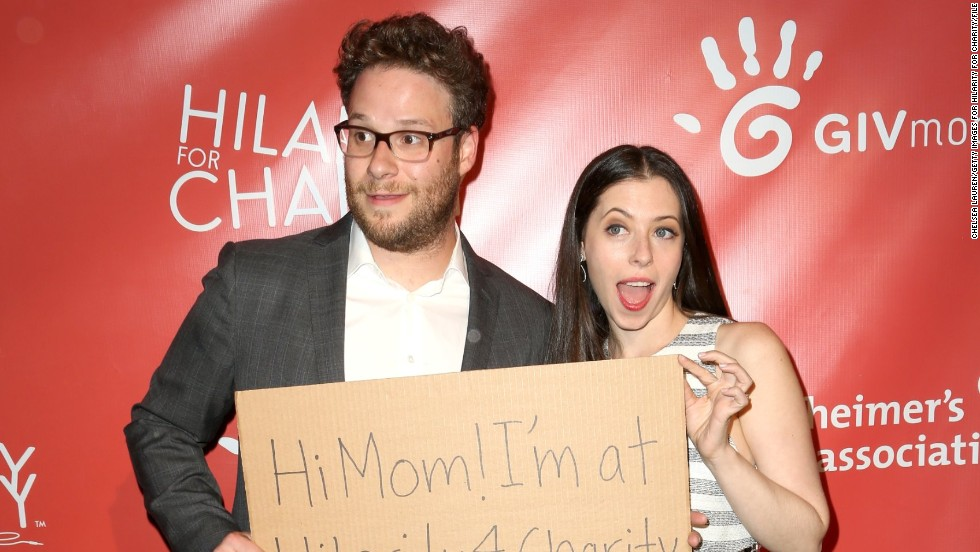 Seth Rogen and wife Lauren Miller arrive at the Hilarity for Charity event in Hollywood, California on April 25.