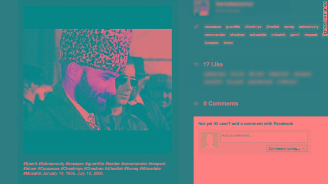 "This image from the site Statigram shows an image that Dzhokhar Tsarnaev ""liked"" of warlord Shamil Basayev."