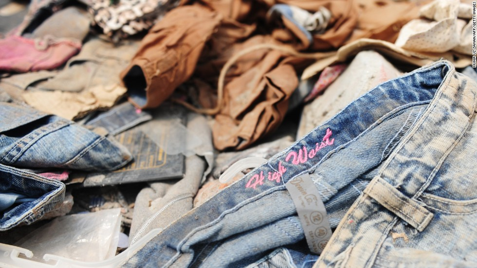 Clothes lie in the rubble on Saturday, April 27.