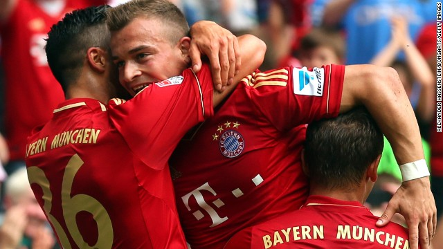 Xherdan Shaqiri (center) celebrates scoring Bayern Munich's winning goal against Freiburg at the Allianz Arena.