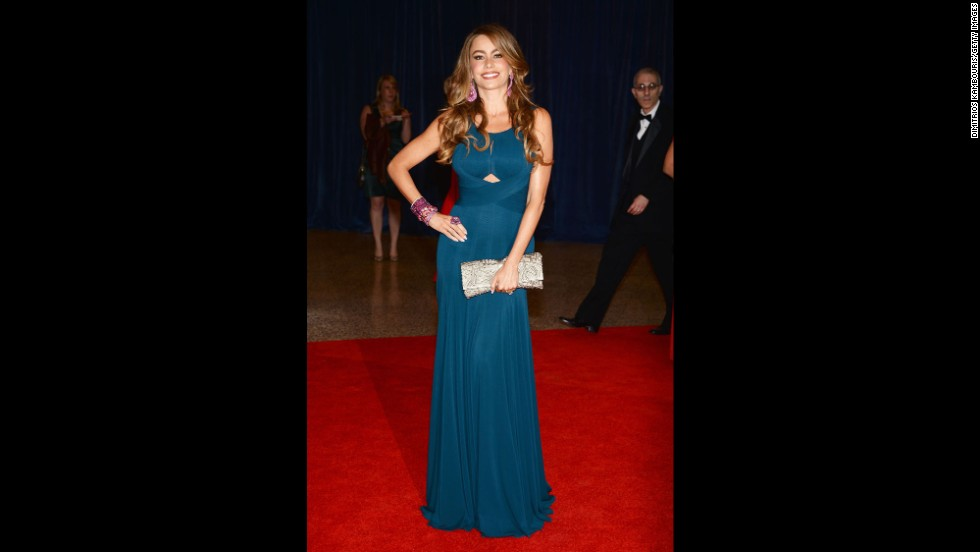 "Sofia Vergara, from ""Modern Family,"" poses on the red carpet."