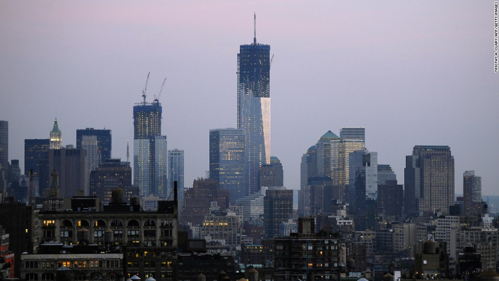Weather delayed the morning delivery of the final two sections of a 408-foot spire to the top of One World Trade Center on Monday, April 29, according to the Port Authority of New York and New Jersey.