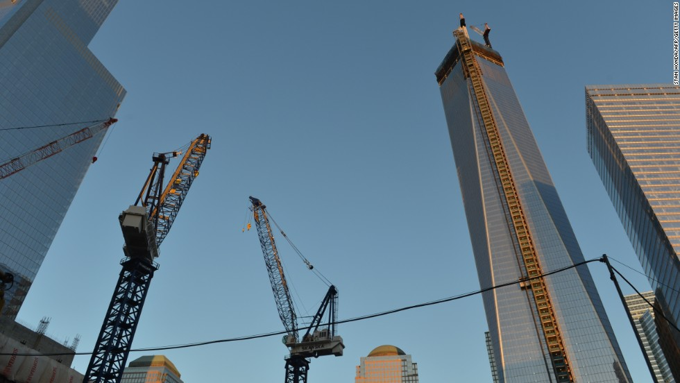 Cranes surround the new building on April 2 during the last stages of the construction.