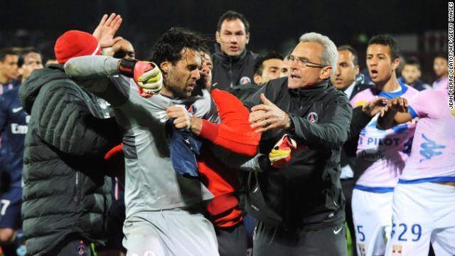 Paris Saint-Germain goalkeeper Salvatore Sirigu was sent off after the final whistle.