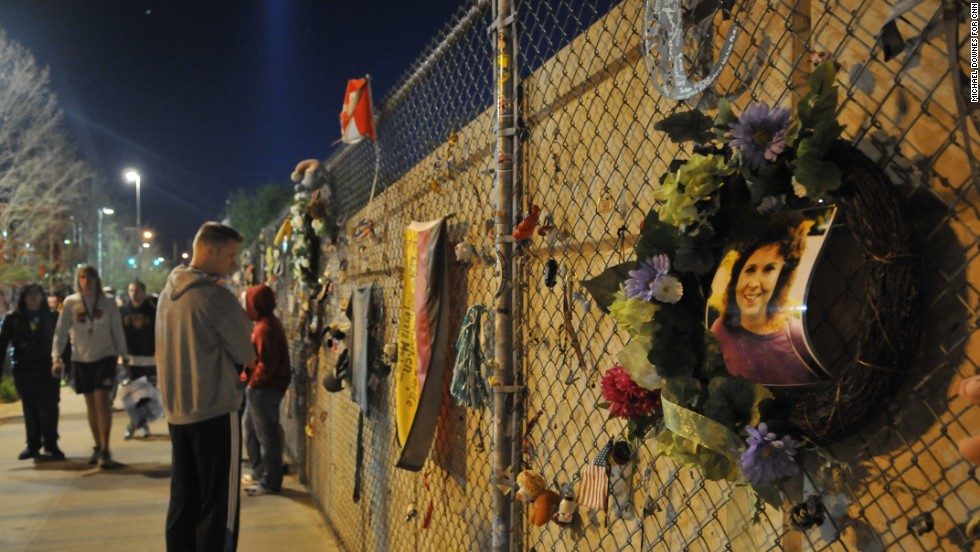 Victims of the 1995 Oklahoma City bombing are remembered at the site of the blast, which abuts the starting line for the city's memorial marathon.