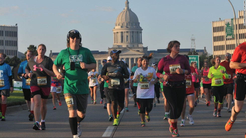 The Oklahoma City marathon was held only 13 days after explosions at the finish line in Boston.