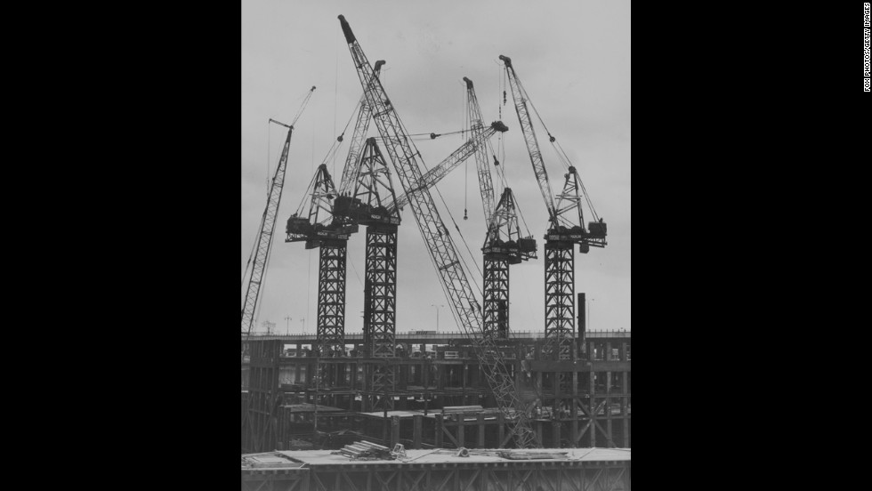 Cranes were in position at the excavation site in December 1968.