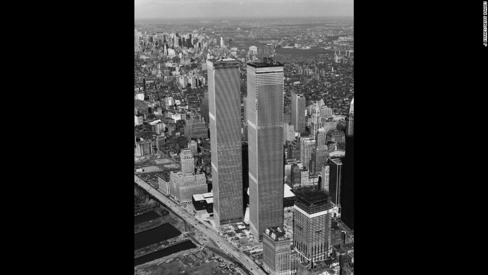 Designed to be a complex of seven buildings, the World Trade Center was known for its signature twin towers, shown here a few weeks before their inauguration in April 1973.