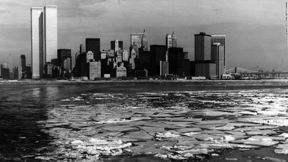 In this photograph from January 1976, the twin towers of New York's World Trade Center can be seen across the Hudson River. Its construction coincided with a U.S. recession in the year leading up to its 1970 completion.