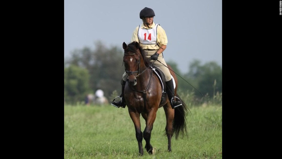 """Kathy Stim's first outing with ex-racehorse Archer (formerly Wood Be Me) was in 2010 at the Long Run Hounds Hunter Pace. She is the vice president of<a href=""""http://www.secondstride.org/index.html"""" target=""""_blank""""> Second Stride</a>, a thoroughbred rehabilitation farm, and adopted Archer there. Archer was almost put down because of his injuries."""