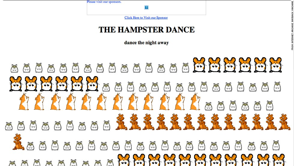 "<a href=""http://hampsterdance.com"" target=""_blank"">Hampsterdance.com</a>, shown here as it looked in April 1999, gained popularity for its catchy background tune and cute rodent graphics."
