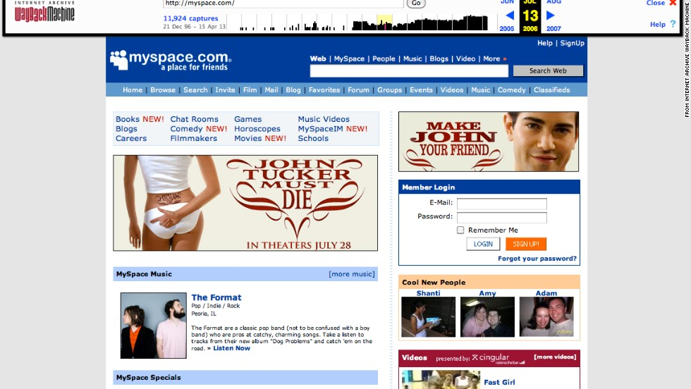 """Visitors to <a href=""""http://www.myspace.com"""" target=""""_blank"""">myspace.com</a>, shown here as it looked in July 2006, connected with friends against the backdrop of a slightly different layout."""